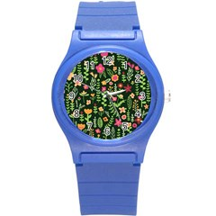 Cute Doodle Flowers 7 Round Plastic Sport Watch (s) by tarastyle