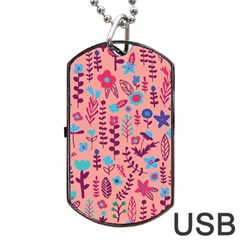 Cute Doodle Flowers 8 Dog Tag Usb Flash (two Sides) by tarastyle