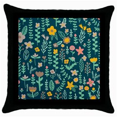 Cute Doodle Flowers 10 Throw Pillow Case (black) by tarastyle
