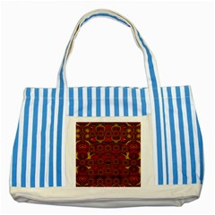 Pumkins  In  Gold And Candles Smiling Striped Blue Tote Bag by pepitasart