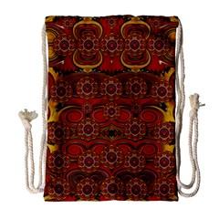 Pumkins  In  Gold And Candles Smiling Drawstring Bag (large) by pepitasart