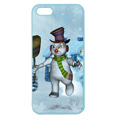 Funny Grimly Snowman In A Winter Landscape Apple Seamless Iphone 5 Case (color) by FantasyWorld7