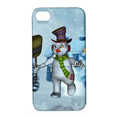 Funny Grimly Snowman In A Winter Landscape Apple Iphone 4/4s Hardshell Case With Stand by FantasyWorld7
