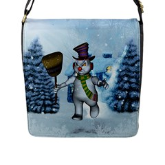 Funny Grimly Snowman In A Winter Landscape Flap Messenger Bag (l)  by FantasyWorld7