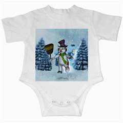 Funny Grimly Snowman In A Winter Landscape Infant Creepers by FantasyWorld7