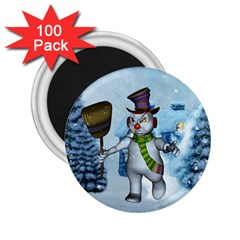 Funny Grimly Snowman In A Winter Landscape 2 25  Magnets (100 Pack)  by FantasyWorld7