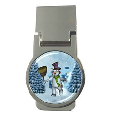 Funny Grimly Snowman In A Winter Landscape Money Clips (round)  by FantasyWorld7