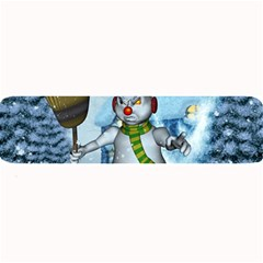 Funny Grimly Snowman In A Winter Landscape Large Bar Mats by FantasyWorld7