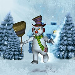 Funny Grimly Snowman In A Winter Landscape Magic Photo Cubes by FantasyWorld7