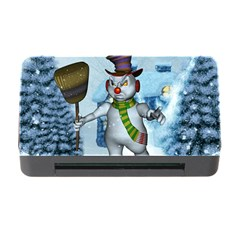 Funny Grimly Snowman In A Winter Landscape Memory Card Reader With Cf by FantasyWorld7