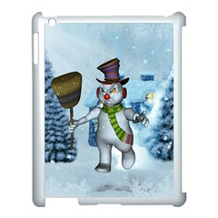 Funny Grimly Snowman In A Winter Landscape Apple Ipad 3/4 Case (white) by FantasyWorld7