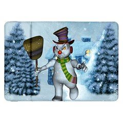 Funny Grimly Snowman In A Winter Landscape Samsung Galaxy Tab 8 9  P7300 Flip Case by FantasyWorld7