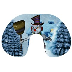 Funny Grimly Snowman In A Winter Landscape Travel Neck Pillows by FantasyWorld7