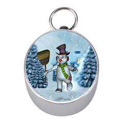 Funny Grimly Snowman In A Winter Landscape Mini Silver Compasses by FantasyWorld7