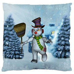 Funny Grimly Snowman In A Winter Landscape Large Flano Cushion Case (two Sides) by FantasyWorld7