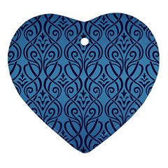Art Nouveau Teal Heart Ornament (two Sides) by 8fugoso