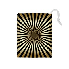 Art Deco Goldblack Drawstring Pouches (medium)  by 8fugoso