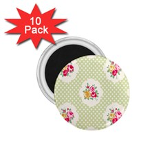 Green Shabby Chic 1 75  Magnets (10 Pack)  by 8fugoso