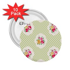 Green Shabby Chic 2 25  Buttons (10 Pack)  by 8fugoso