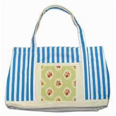 Green Shabby Chic Striped Blue Tote Bag by 8fugoso