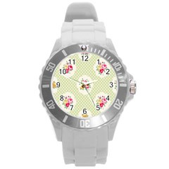 Green Shabby Chic Round Plastic Sport Watch (l) by 8fugoso