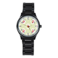 Green Shabby Chic Stainless Steel Round Watch by 8fugoso