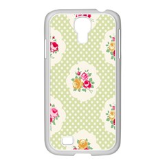 Green Shabby Chic Samsung Galaxy S4 I9500/ I9505 Case (white) by 8fugoso