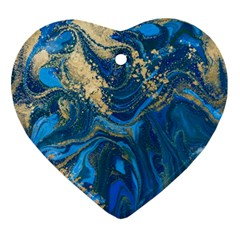 Ocean Blue Gold Marble Ornament (heart) by 8fugoso