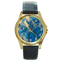 Ocean Blue Gold Marble Round Gold Metal Watch by 8fugoso