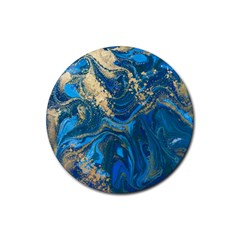 Ocean Blue Gold Marble Rubber Coaster (round)  by 8fugoso