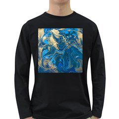 Ocean Blue Gold Marble Long Sleeve Dark T Shirts by 8fugoso