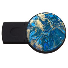 Ocean Blue Gold Marble Usb Flash Drive Round (4 Gb) by 8fugoso