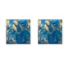 Ocean Blue Gold Marble Cufflinks (square) by 8fugoso