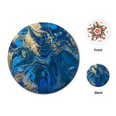 Ocean Blue Gold Marble Playing Cards (round)  by 8fugoso