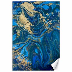 Ocean Blue Gold Marble Canvas 12  X 18   by 8fugoso