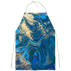 Ocean Blue Gold Marble Full Print Aprons by 8fugoso
