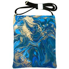 Ocean Blue Gold Marble Shoulder Sling Bags by 8fugoso
