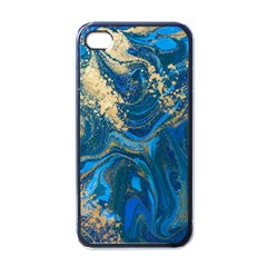 Ocean Blue Gold Marble Apple Iphone 4 Case (black) by 8fugoso