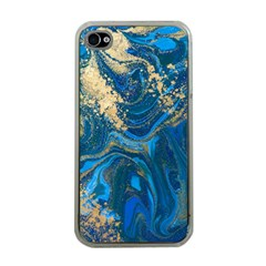 Ocean Blue Gold Marble Apple Iphone 4 Case (clear) by 8fugoso