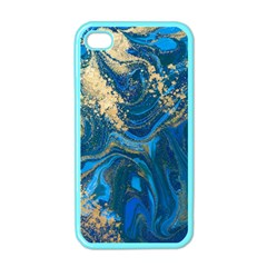 Ocean Blue Gold Marble Apple Iphone 4 Case (color) by 8fugoso