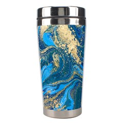 Ocean Blue Gold Marble Stainless Steel Travel Tumblers by 8fugoso