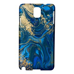 Ocean Blue Gold Marble Samsung Galaxy Note 3 N9005 Hardshell Case by 8fugoso