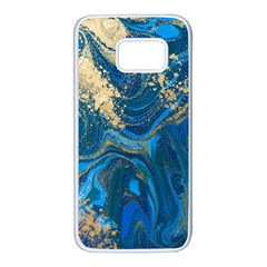 Ocean Blue Gold Marble Samsung Galaxy S7 White Seamless Case by 8fugoso