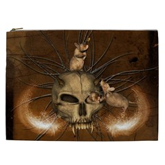 Awesome Skull With Rat On Vintage Background Cosmetic Bag (xxl)  by FantasyWorld7