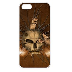 Awesome Skull With Rat On Vintage Background Apple Iphone 5 Seamless Case (white) by FantasyWorld7