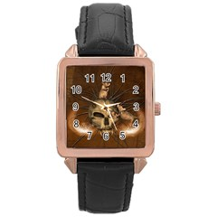Awesome Skull With Rat On Vintage Background Rose Gold Leather Watch  by FantasyWorld7