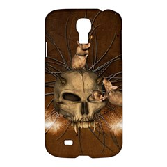 Awesome Skull With Rat On Vintage Background Samsung Galaxy S4 I9500/i9505 Hardshell Case by FantasyWorld7