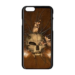 Awesome Skull With Rat On Vintage Background Apple Iphone 6/6s Black Enamel Case by FantasyWorld7
