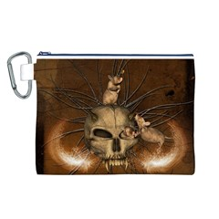 Awesome Skull With Rat On Vintage Background Canvas Cosmetic Bag (l) by FantasyWorld7