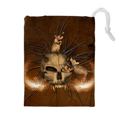 Awesome Skull With Rat On Vintage Background Drawstring Pouches (extra Large) by FantasyWorld7